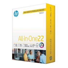 HP All-in-One 22 Copy Paper, 8.5x11, 96 Bright, 750 Mega Ream