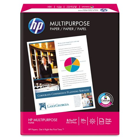 "HP - Multipurpose Paper, 20lb, 96 Bright, 8-1/2 x 11"" - Ream"