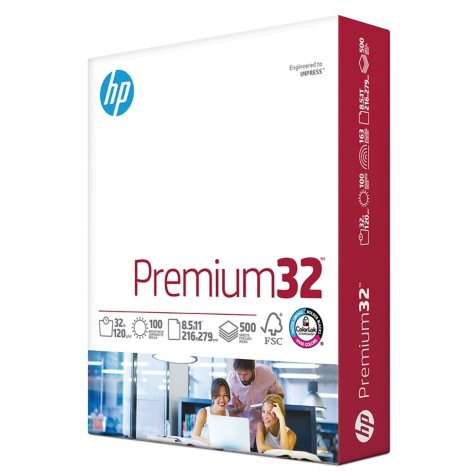 HP Premium Choice LaserJet Paper, 32lb, 98 Bright, 8 1/2x11, White, 500 Sheets/Ream