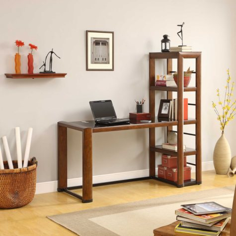 Carson Open Storage Desk - Brown Cherry