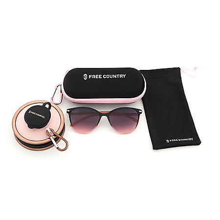 Free Country Womens Black Fashion Sunglass with Case, Drawstring Bag and Collapsible Water Bottle