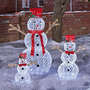 Outdoor Lighted Snowman 17998 members mark 3 piece illuminated crystallized snowman 17998 workwithnaturefo