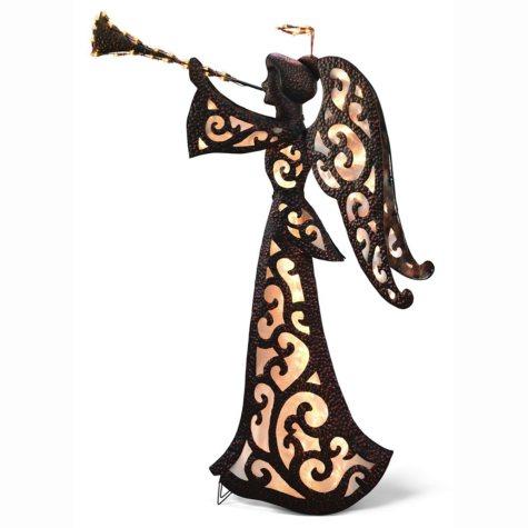 """Metal Glitter Glow Trumpet Angel - 68"""""""