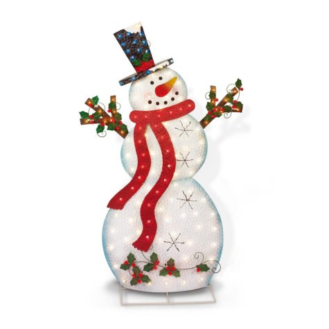 "60"" Lighted Metal Snowman"