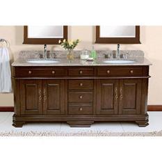 """Perkin 72"""" Double Sink Vanity with Granite Top"""