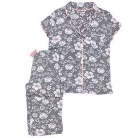 Layla Short Sleeve Notch Collar Pj with Capri Pant