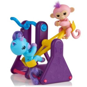 WowWee Fingerlings Playset - See-Saw with 2 FingerlingsToys, Coral & Callie