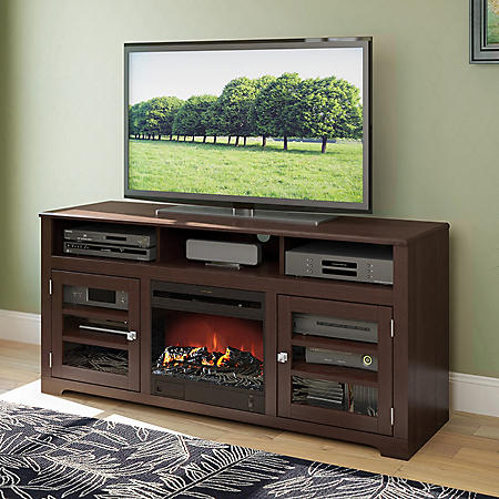 "West Lake 60"" Fireplace TV Bench - Dark Espresso"
