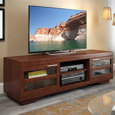 "Granville 66"" Warm Cinnamon Wood Veneer TV Bench"