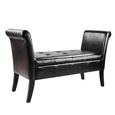 Antonio Black Bonded Leather Bench with Rolled Arms