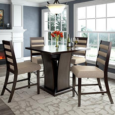 Bistro Counter Height Dining Table with 4 Woven Cream Dining Chairs
