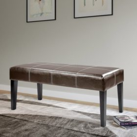 Antonio Dark Brown Bonded Leather Bench
