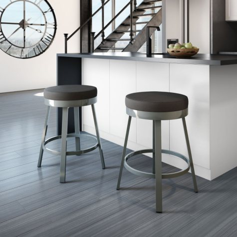 Amisco Clock Swivel Metal Stool