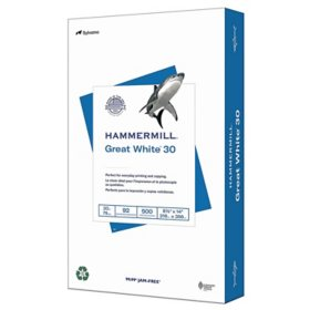 "Hammermill - Great White 30% Recycled Copy Paper, 20lb, 92 Bright, 8-1/2 x 14"" - Ream"