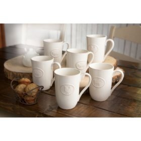 Farmhouse Stoneware Mugs with Antique Finish, 6 Pack (Assorted Colors)