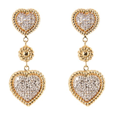 0.15 ct. t.w. Round Diamond Heart Earrings in 14k Yellow Gold (H-I, I1)