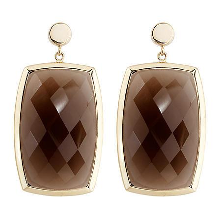20 CT. T.W. Smokey Quartz Dangle Earrings in 14K Yellow Gold