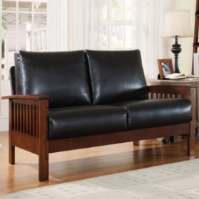 Calantha Faux Leather Loveseat