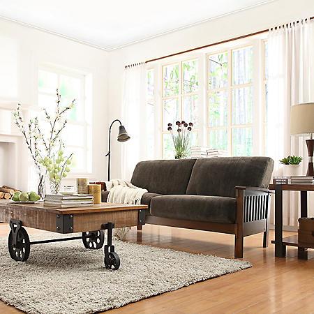 Calantha Espresso Fabric Sofa