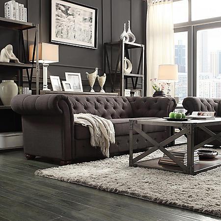 Kyle Tufted Linen Sofa - Choose Color