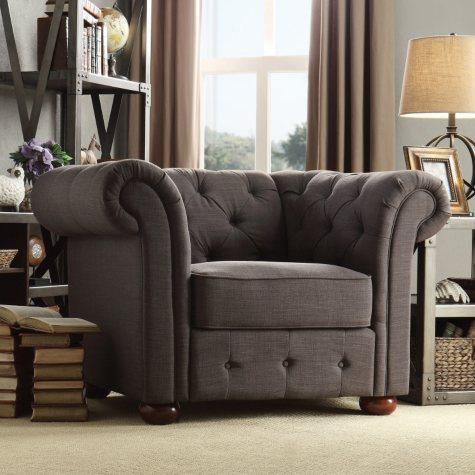 Kyle Tufted Linen Chair - Choose Color