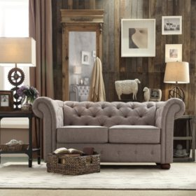 Kyle Tufted Linen Loveseat - Choose Color