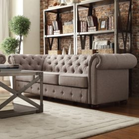 Kyle Tufted Linen Sofa - Choose Color