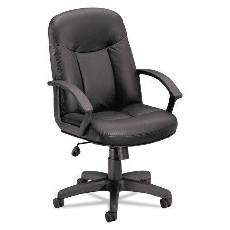 basyx by HON VL601 Leather Mid- Back Swivel/Tilt Chair, Black