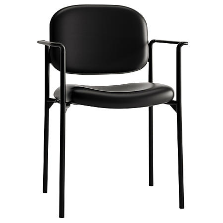 basyx VL616 Leather Stack Guest Chair with Arms, Black