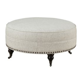 Willow Creek Round Ottoman, Pebble Gray Stripe