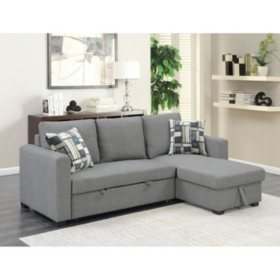 Astounding Langley Reversible Sectional Sofa With Storage Fossil Gray Ibusinesslaw Wood Chair Design Ideas Ibusinesslaworg