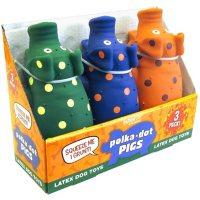 Multipet Polka-Dot Pigs Latex Dog Toys (3 pk.)