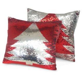 "Idea Nuova Christmas Tree Sparkle Pillow, 16"" x 16"""