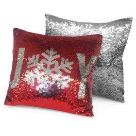 """Idea Nuova Holiday Joy Reversible Sequin Pillow, 16"""" x 16"""""""