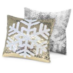 "Idea Nuova Holiday Snowfake Reversible Pillow, 16"" x 16"""