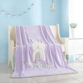 "American Kids Figural Llama Sherpa Blanket Throw, 60"" x 60"""