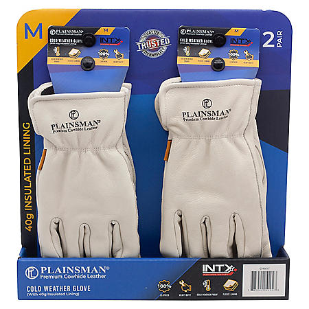 Plainsman Brand Cowhide Leather Work Gloves (Fleece-Lined, 2 pk.)