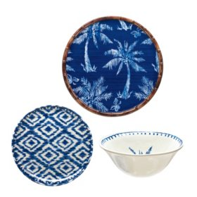 Member's Mark 18-Piece Melamine Dinnerware Set (Assorted Colors)