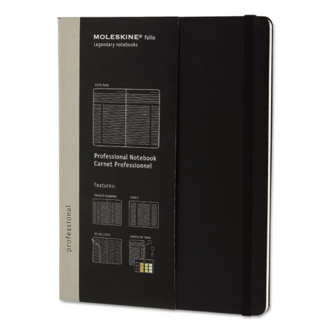 Moleskine - Professional Notebook, 7 1/2 x 9 3/4, Black Cover -  192 Sheets