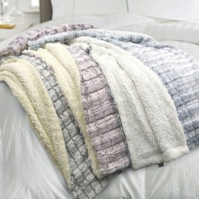 Blue Ridge Reversible Micromink Sherpa Throw (Assorted Colors)