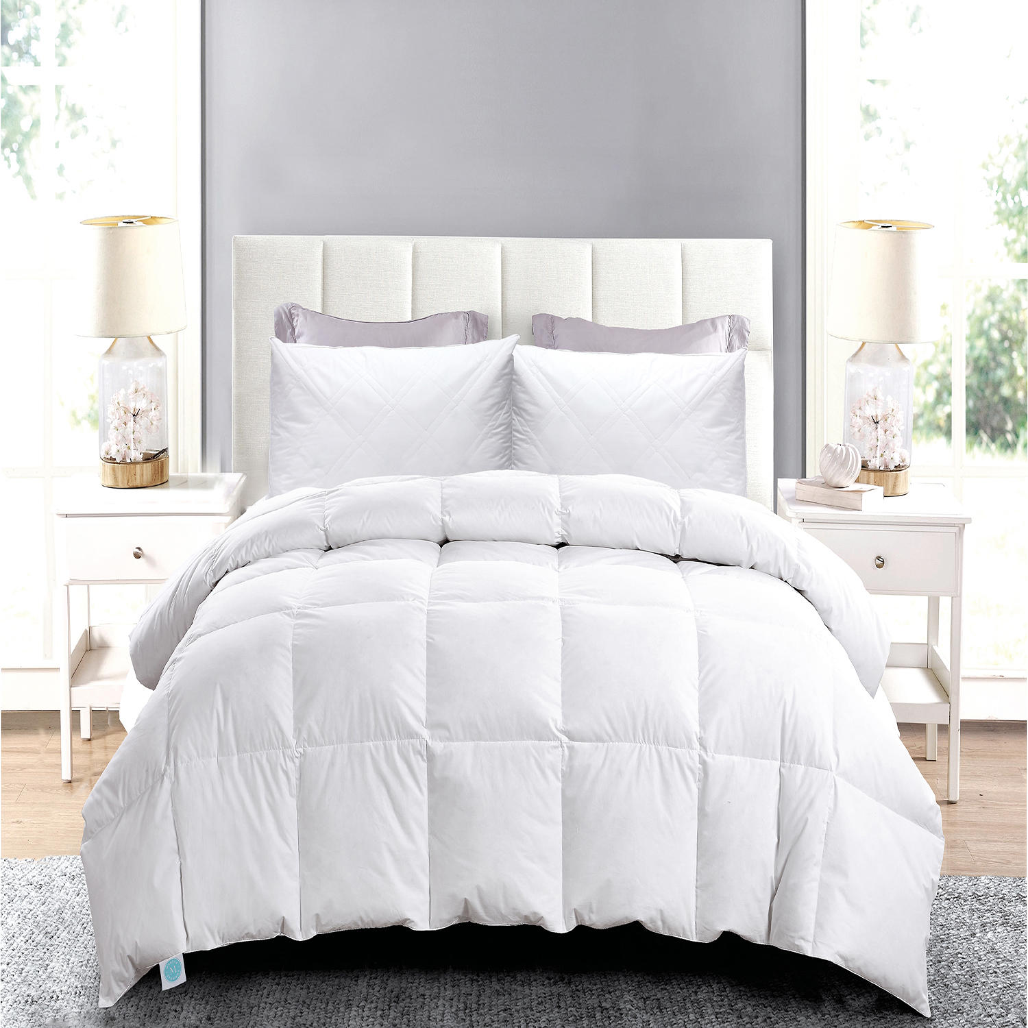 Blue Ridge White Goose Comforter Set with Comforter and Quilted Pillow Set, 2 pillows