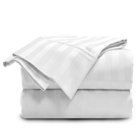 ELLE Home 300-Thread-Count Cotton Damask Stripe Sheet Set