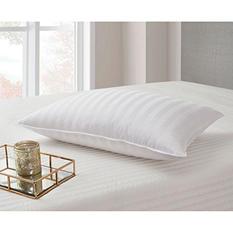 250-Thread-Count Cotton Damask Stripe White Down Pillow