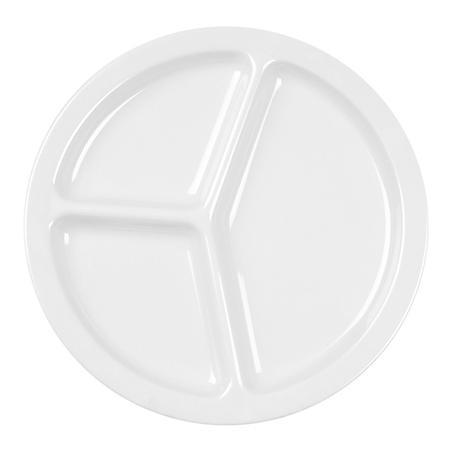 "Milan Melamine 3-Compartment Plate, White - 10"" (12 pk.)"