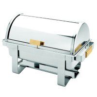 Excellante Full Size SS Roll Top Gold Accent Chafer - 8 qt.