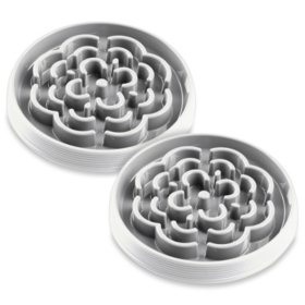 Life Happens Slow Chow Pet Feeder Bowl, 2 Pack, White (Choose Your Size)