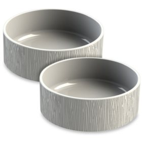 Life Happens Pet Bowl, Wood Grain Ceramic Stoneware, 2 Pack (Choose Your Size)