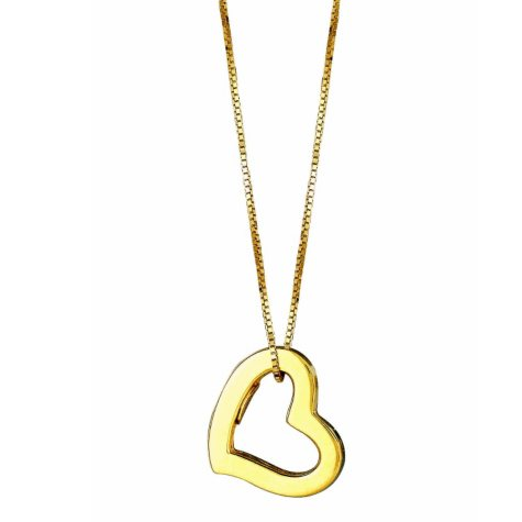 Open Heart Hollow Pendant in 14K Yellow Gold