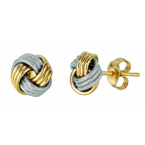 14K Two-Tone Polished and Textured Italian Knot Post Earrings