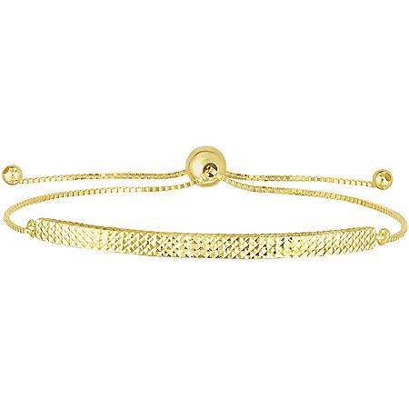 14K Yellow Gold Diamond Cut Bar Bolo Bracelet